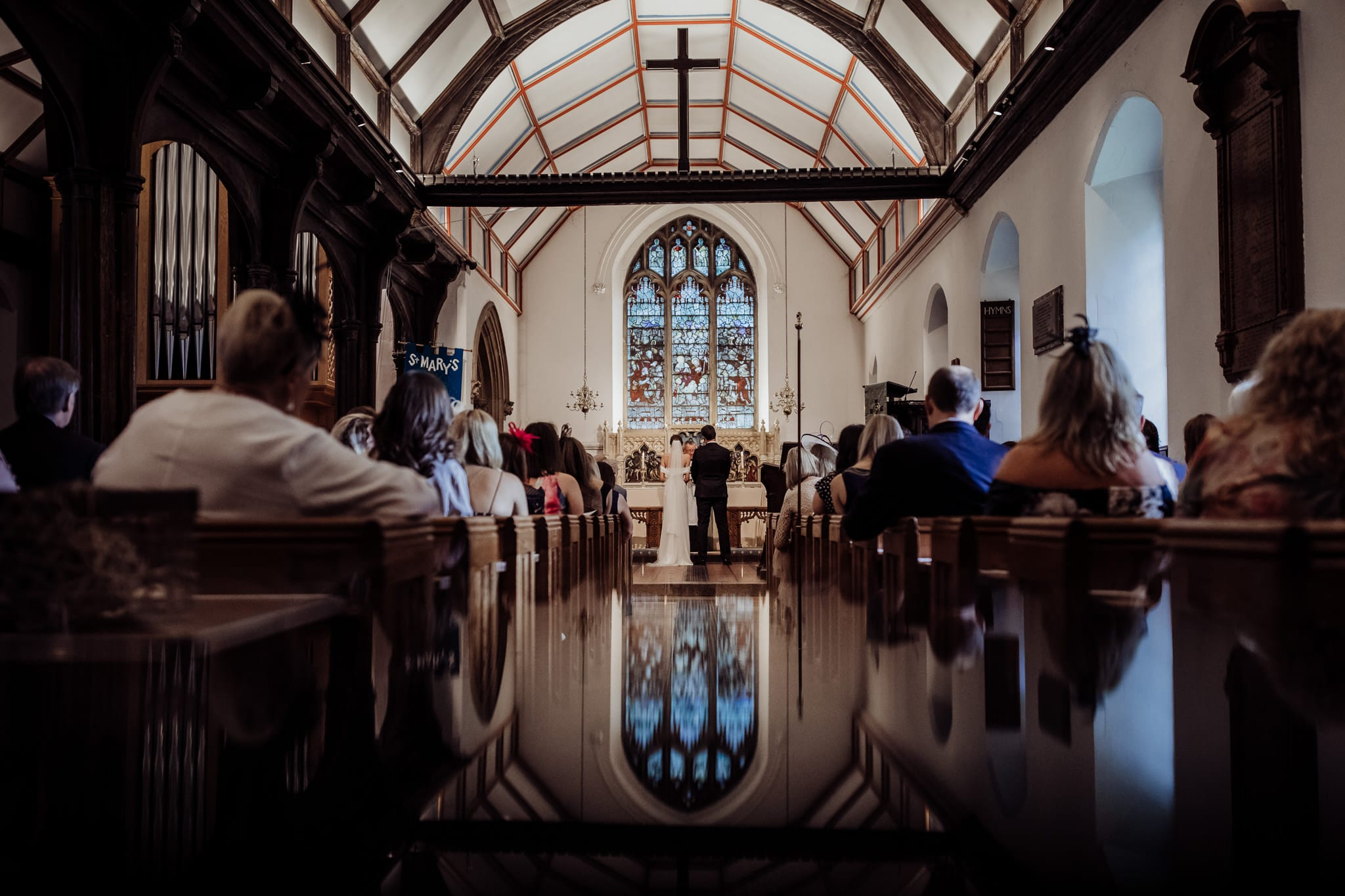 reflection of church during wedding