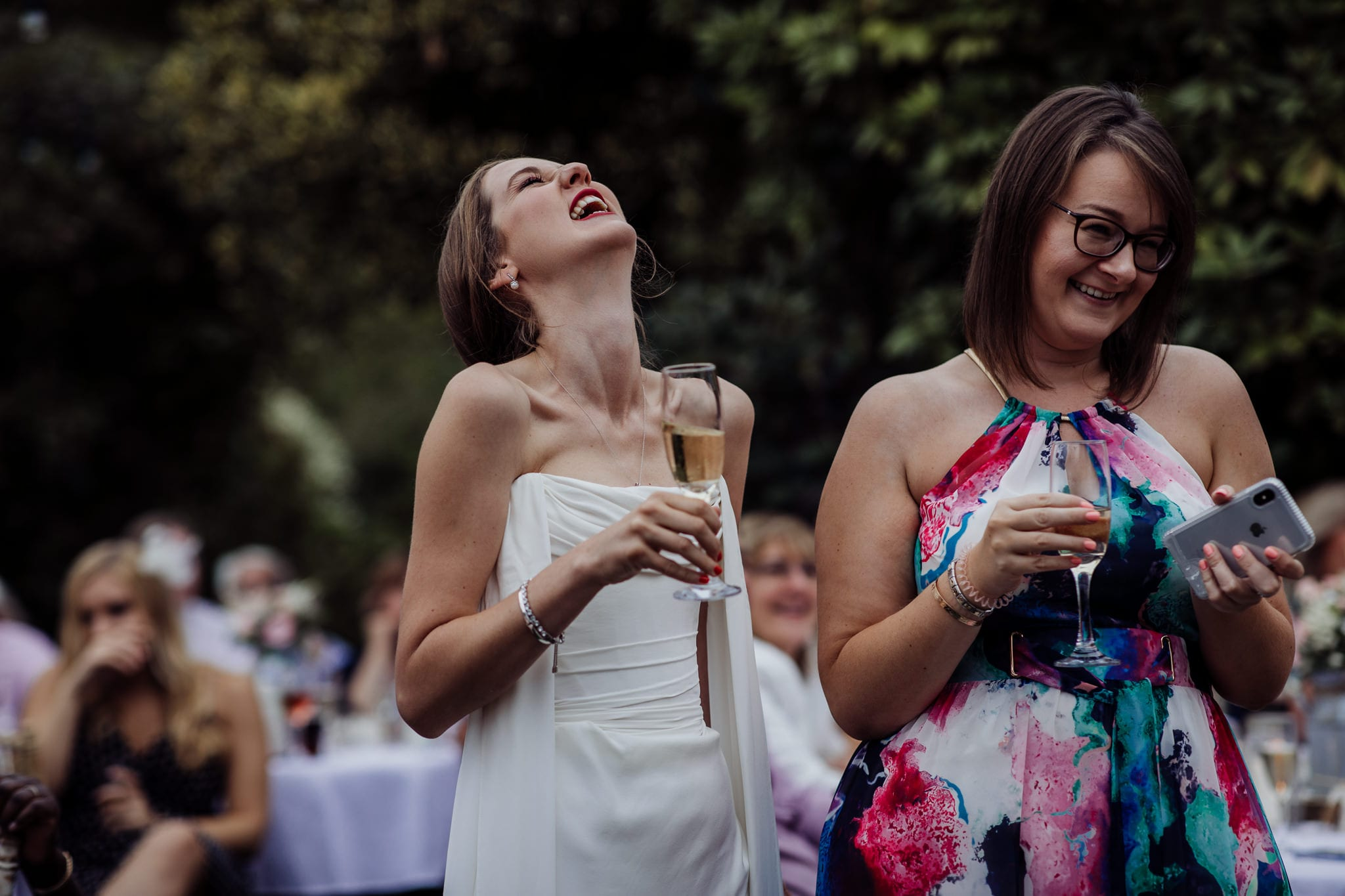 bride laughing at an Essex back garden wedding