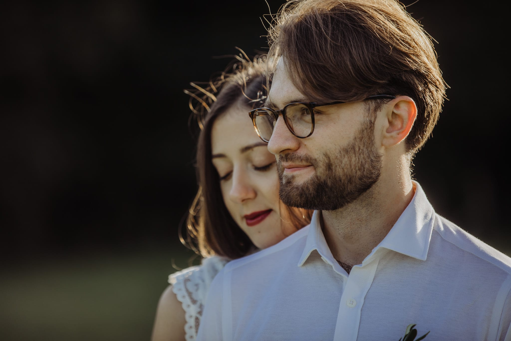 closeup portrait of bride and groom at a Cambridge countryside elopement