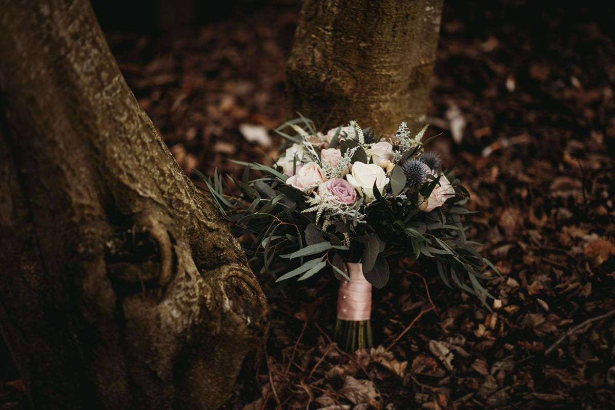 Bridal flowers near a tree