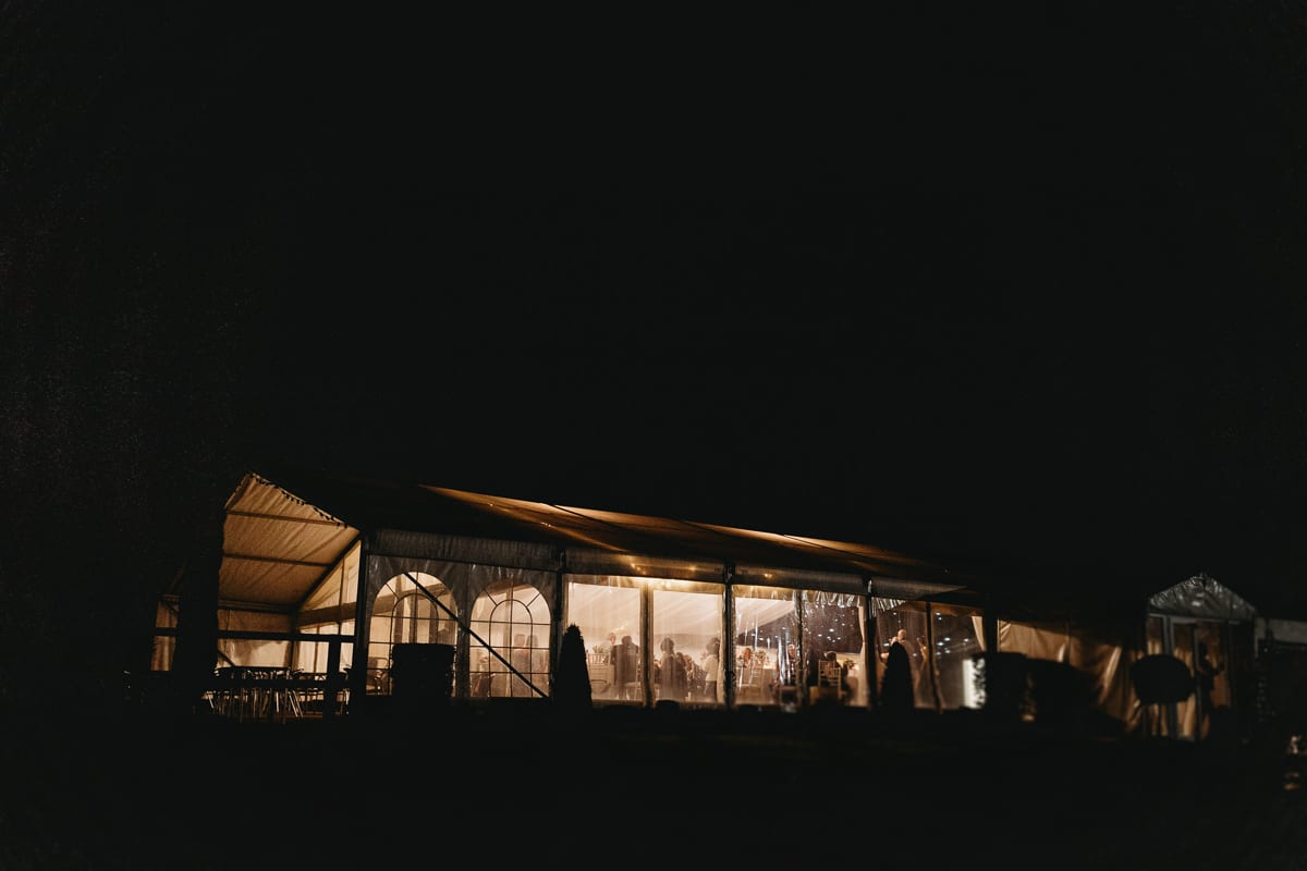 evening view of a marquee at Rosewood Pavilion