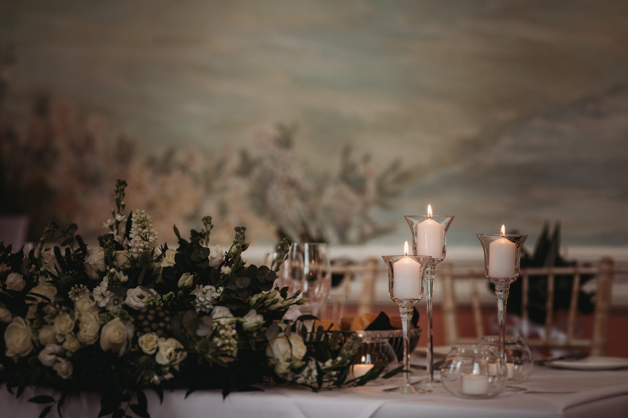 flowers and candles at a Danesfield House wedding