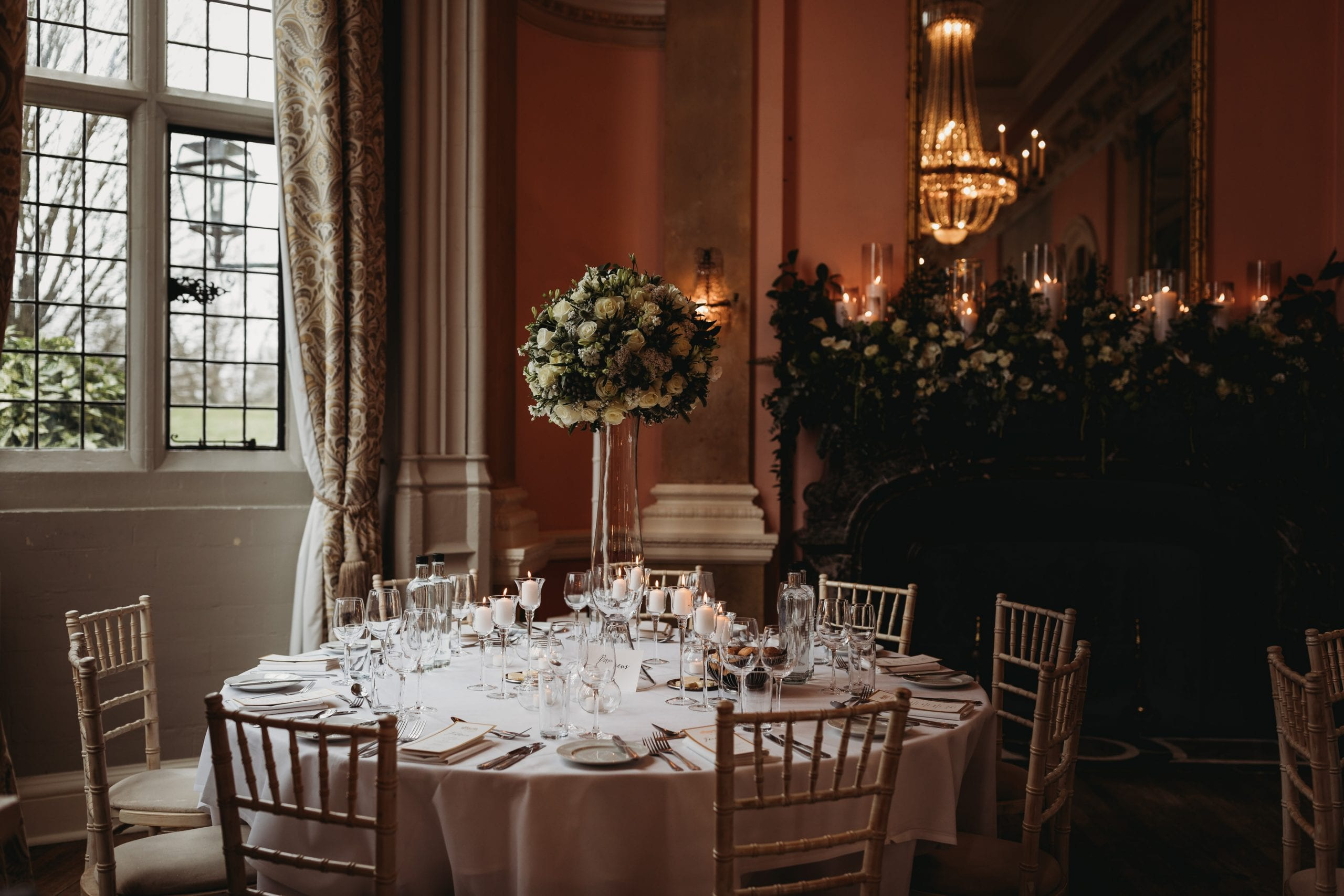 wedding breakfast room details at a Danesfield House wedding