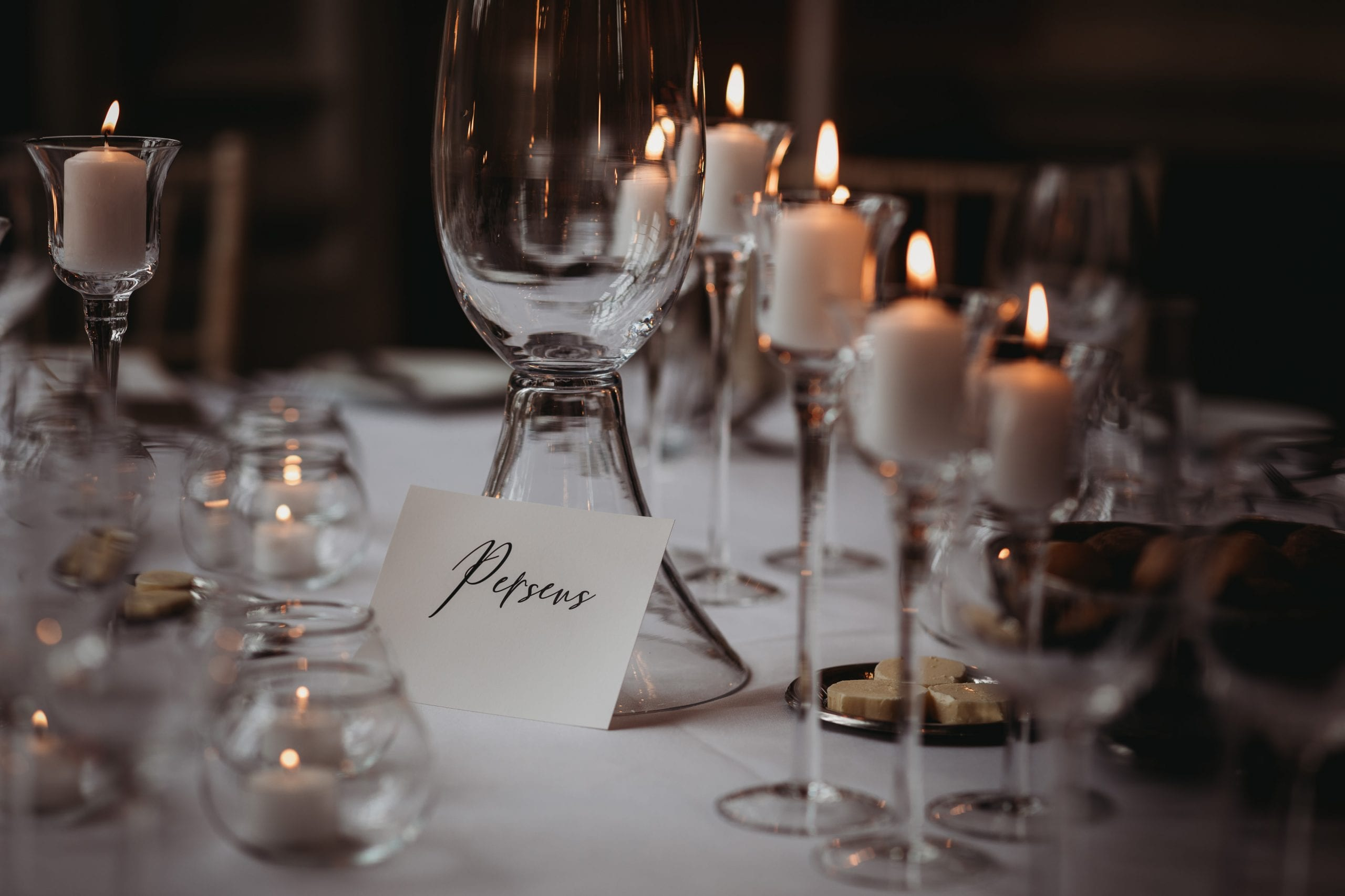 candles and table name at a Danesfield House wedding