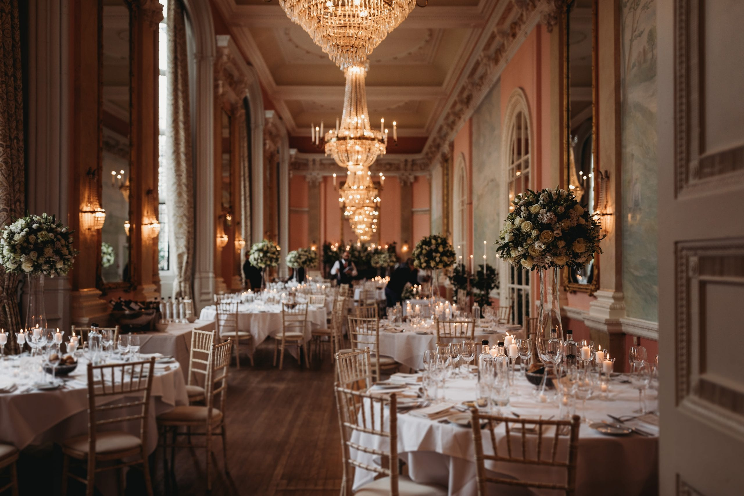 Wedding breakfast room at a Danesfield House wedding