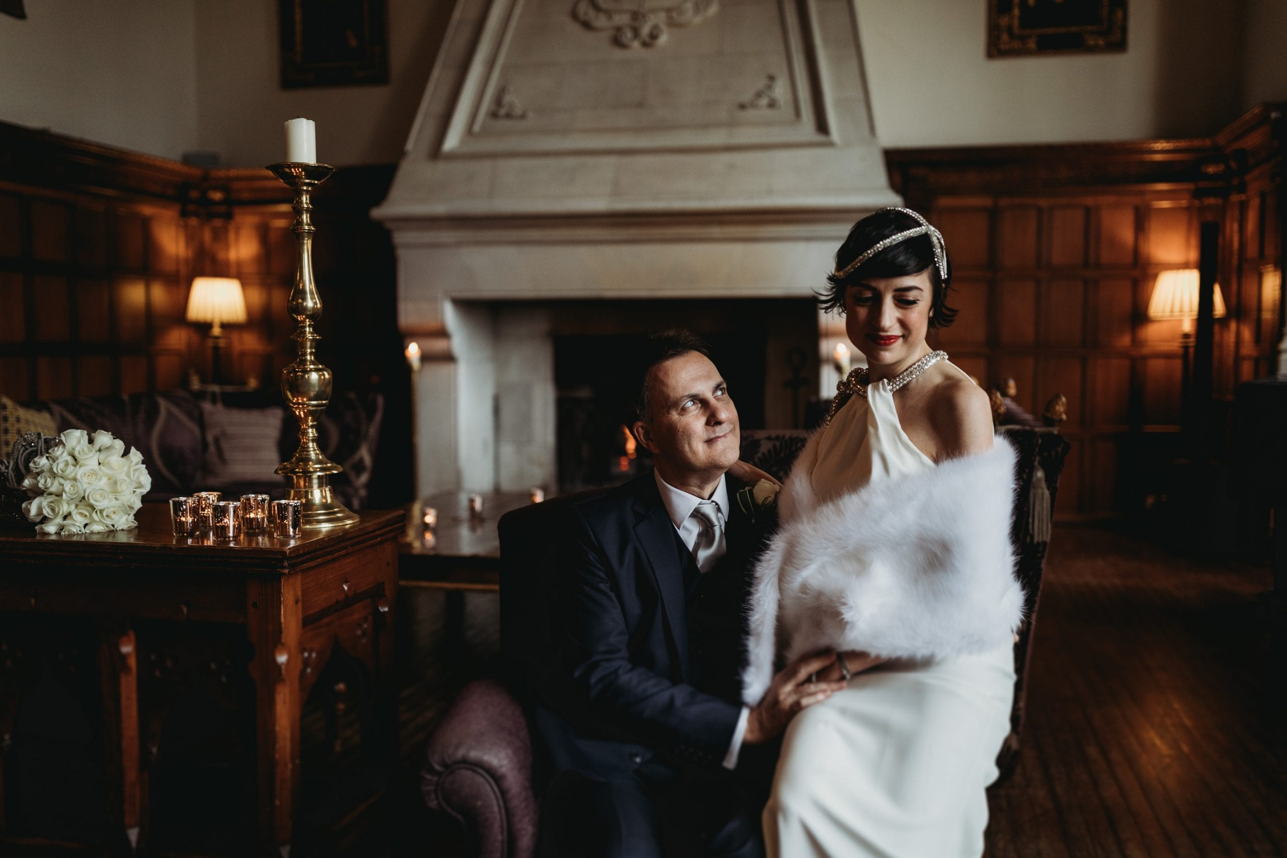 portrait of bride and groom sitting