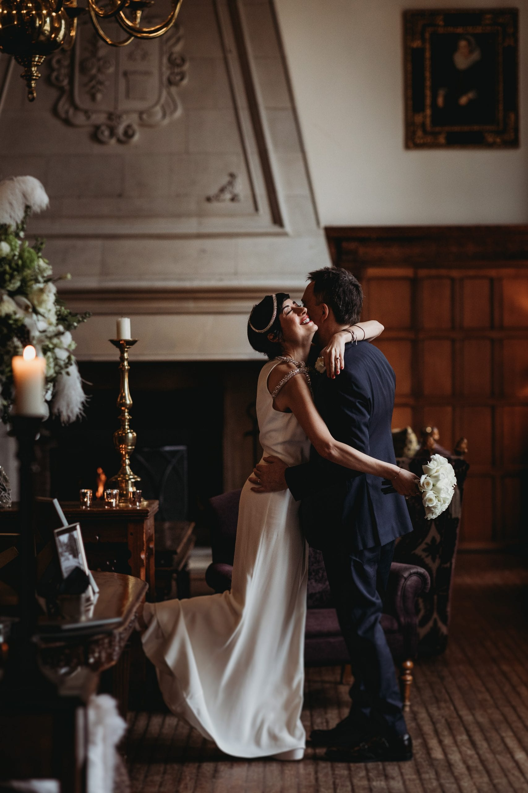 bride and groom hugging at a Danesfield House wedding