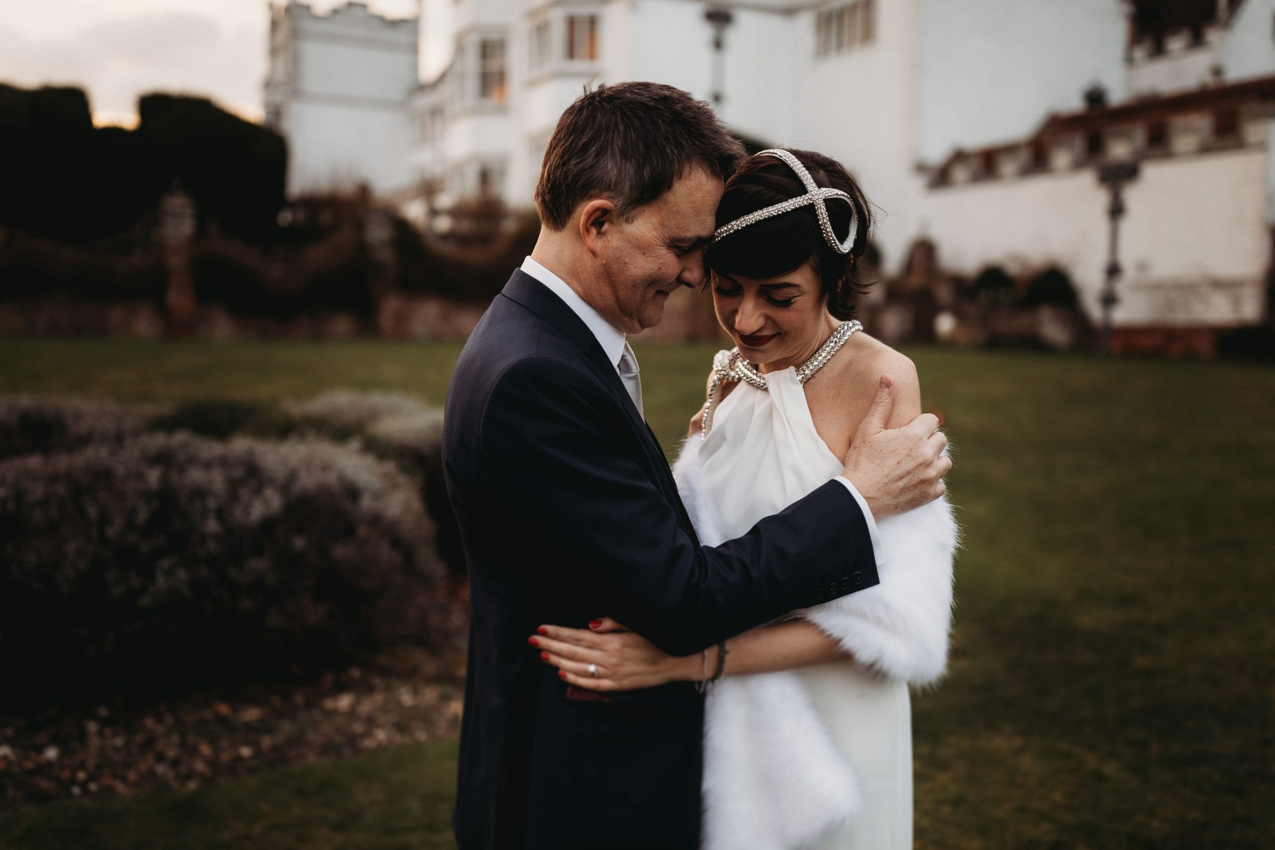 portrait of bride and groom at Danesfield House