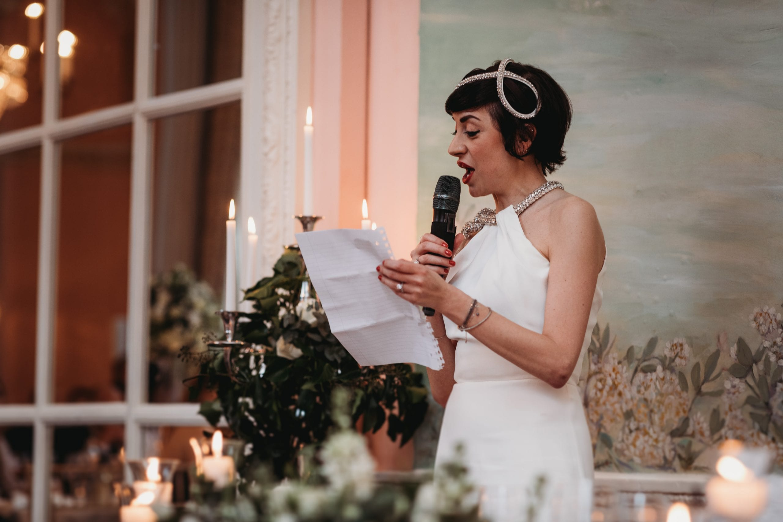 bride speaks at a Danesfield House wedding